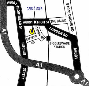 map of how to get to Cars 4 Sale in Biggleswade